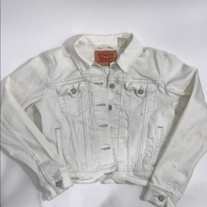 Levi's trucker jean jacket white with blue size S